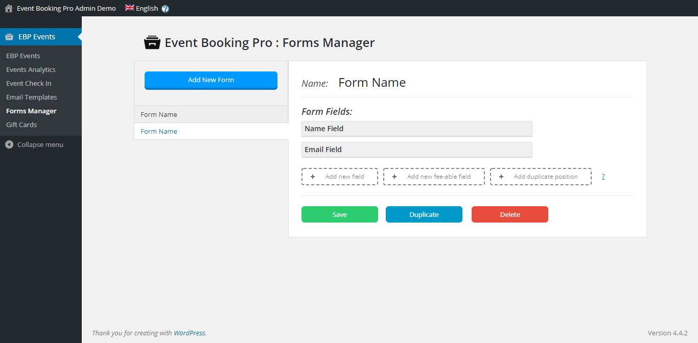 Event Booking Pro Forms Manager
