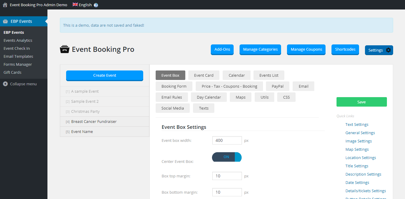Event Booking Pro Settings
