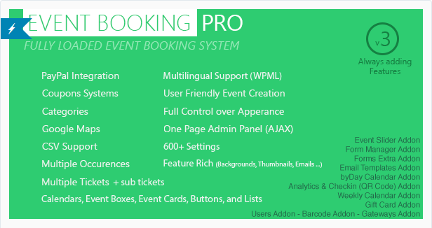Event Booking Pro WordPress Plugin PayPal or Offline