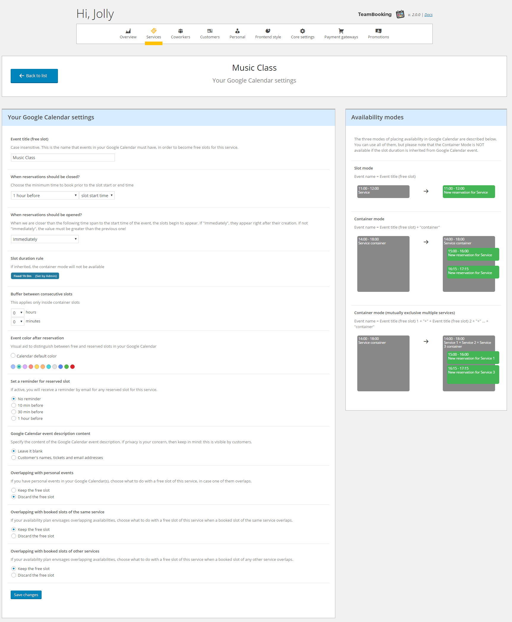 Team Booking is a WordPress booking and reservation plugin for appointments and services with a very distinctive feature: all the availability plans are made via Google Calendar!