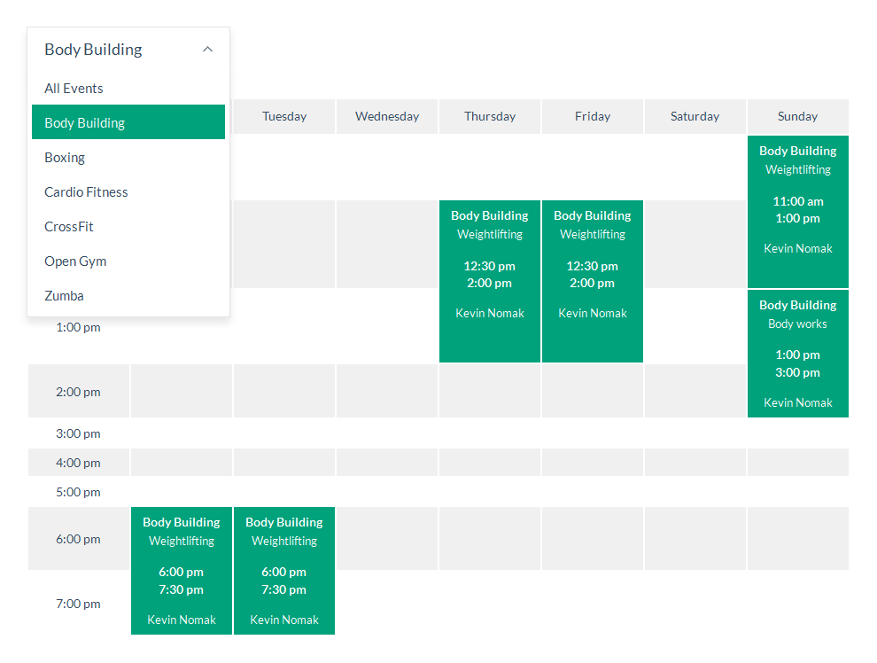 Timetable is a powerful and easy-to-use schedule plugin for WordPress. It will help you to create a timetable view of your events in minutes! It is perfect for your gym classes, school or kindergarten, medical departments, nightclubs and pubs, class schedules, meal plans, you name it.