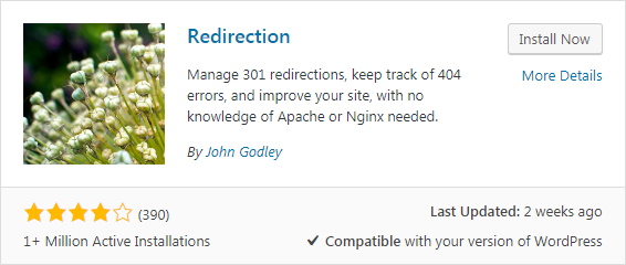Redirection is the most popular redirect manager for WordPress. With it you can easily manage 301 redirections, keep track of 404 errors, and generally tidy up any loose ends your site may have. This can help reduce errors and improve your site ranking.  Redirection is designed to be used on sites with a few redirects to sites with thousands of redirects.  It has been a WordPress plugin for over 10 years and has been recommended countless times. And it's free!