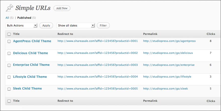 Simple-URLs-WP-Plugin-screenshot-1
